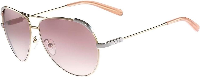 Chloe Eria Aviator Sunglasses in Light gold Peach CE118 S 709 60 60 Pink Peach Gradient