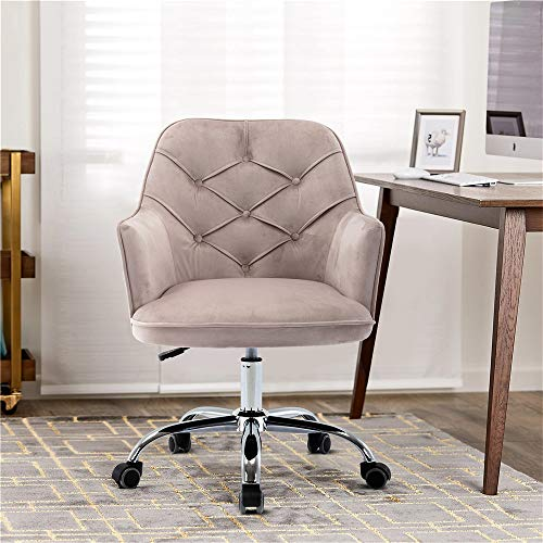 Goujxcy Home Office Chair,Velvet Desk Chair with Metal Base,Modern Adjustable Swivel Chair (Grey)