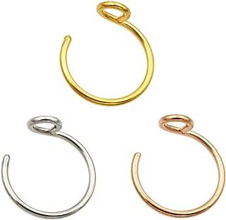 Fake Nose Ring 20g Faux Nose Hoop Nose Piercing Jewelry 8mm Septum Ring Lip Rings Set