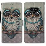 Samsung Note 9 Case, Galaxy Note 9 Wallet Case Premium PU Leather Case COTDINFORCA 3D Creative Painted Effect Design Full-Body Protective Cover for Samsung Galaxy Note 9 PU Lady Owl YB