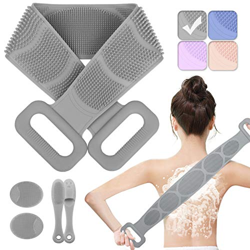 Silicone Back Scrubber for Shower, 2020 New Body Brush Gentle Exfoliating, Double-sided Long Silicone Shower Brush Easy to Wash Back, Improve Blood Circulation for All Skin Types (Grey)