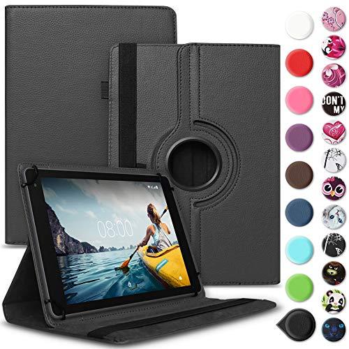 Nauci Tablet Hülle kompatibel für Medion Lifetab E10414 MD 61560 Tasche Schutzhülle Case Universal Cover Standfunktion 360° Drehbar, Farbe:Schwarz