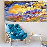 Wfmhra Póster Lienzo Arte Abstracto fantasía Estrellado Colorido Paisaje Pintura al óleo Mural Sala de Estar decoración del hogar 50x100 cm sin Marco