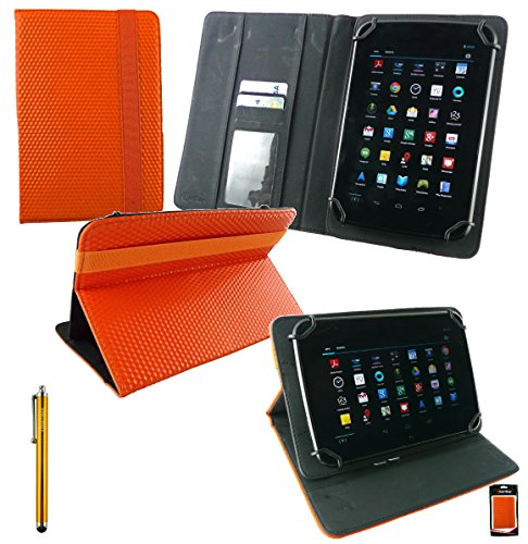 Emartbuy Vodafone Tab Speed 6 4G Tablet 8 Inch Universal Range Orange 3D Cube Multi Angle Executive Folio Wallet Case Cover With Card Slots + Gold Stylus