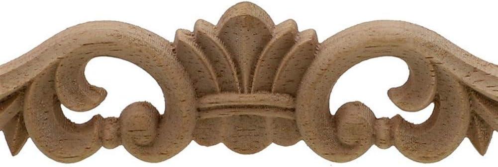 Lankater Bois Onlay Applique Bois Woodcarving Decal 6 Cm Fleur en Bois Sculpt/é Angle Cadre D/écoratif Sculptures Mobilier