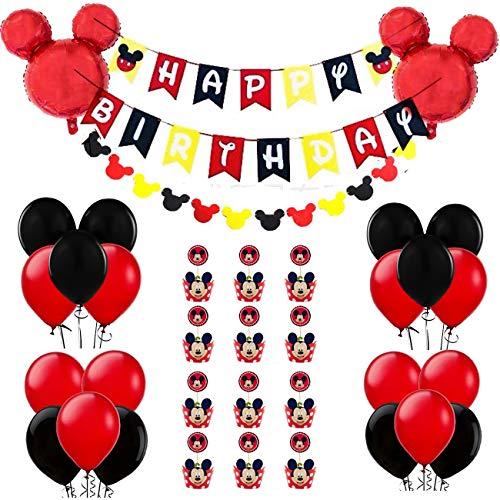 REYOK Mickey Mouse Themed Geburtstag Dekorationen, Mickey 1st Birthday schwarz rot Mickey Luftballons, Happy Birthday Banner, Folienballons für Mickey Mouse Themenparty