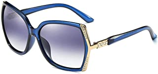 LUKEEXIN Women's Fashion Trend Diamond Glasses, Large Frame Polarized Sunglasses (Color : Blue)