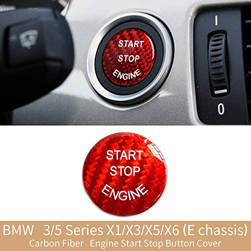 Soyeah Carbon Fiber Car Engine Start Stop Button Cover Keyless Go Ignition Stickers for BMW 3 5 Series, X1 X3 X5 X6 (E chassis, Red)