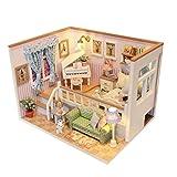 MagiDeal Holz Material Miniatur Puppenhaus Mini Haus LED Licht DIY Dollhouse Kit Möbel Geschenk - #...