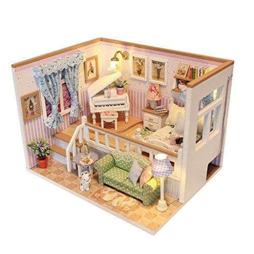 Casa de Muñecas en Miniatura Estilo DIY Japonés con Luz LED - B