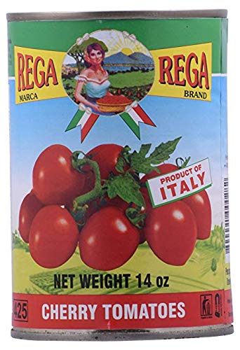 REGA Cherry Tomatoes, Pack of 6 Cans, 14 Ounce Each Can, All Natural Imported from Italy, Rega Pomodorini