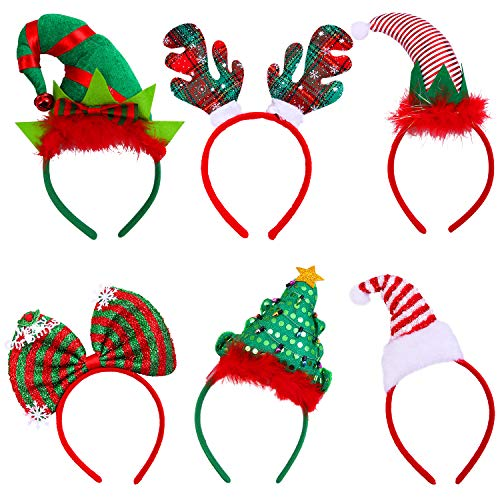 Elcoho 6 Pack Christmas Headbands Xmas Party Hat Headbands Christmas Elf Headbands Reindeer Antlers Headband for Christmas Party Decoration