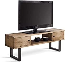 HOGAR24 ES Mesa televisión, Mueble TV Salón Diseño Industrial-Vintage, 2 Puertas y Estante, Madera Maciza Natural, Patas Metálicas. Medidas;110 cm x 40 cm x 30 cm