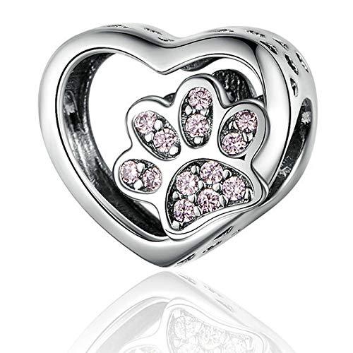 Dog Paw Charm Pink Enamel CZ Dangle Charm for Pandora Charms Bracelet Women Jewellery Birthday Gifts (Dog Charm)