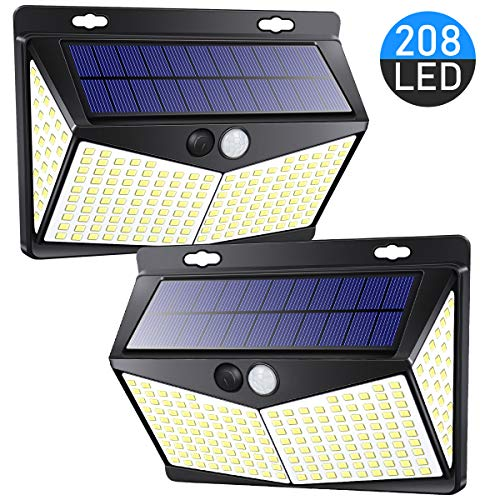 208 LED Motion Sensor Lights Outdoor Solar Powered with 3 Lighting Modes, 270° Wide Angle Lighting, IP65 Waterproof. Wireless Solar Security Flood Lights for Outside Pathway Fence Yard(2 Pack, 6500K)