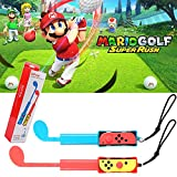 Joy-Con Golf Club for Nintendo Switch, Golf Games Accessories Controller Grip for Mario Golf Super Rush, Blue/Red Combo (2 Pack)