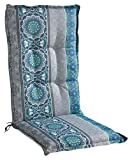 Sesselauflage Sitzpolster Gartenstuhlauflage für Hochlehner | 50 cm x 120 cm | Petrol | Mandalamotiv | Baumwolle | Polyester