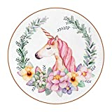 Set of 6 Coasters for Drinks Absorbing Round Coaster Leather Materia, Acuarela Unicornio Floral Tabletop Protection Mat for Mugs and Cups, Office, Kitchen 11 cm