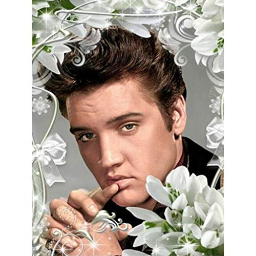 5D Diamond Painting Full Round Drill DIY Diamond Painting Kits for Adults for Home Art Painting Decoration Elvis in Wreath 11.8x15.7 in by Greatminer