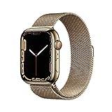 AppleWatch Series7 (GPS+ Cellular, 45mm) - Edelstahlgehäuse Gold, Milanaise Armband Gold