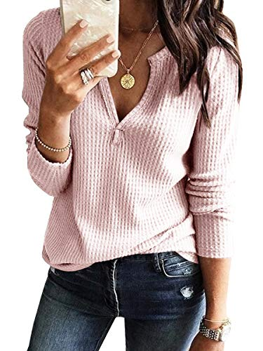 Womens V Neck Shirts Long Sleeve Waffle Knit Loose Fitting Warm Tee Tops Pullover Sweaters Pink