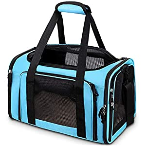Comsmart Cat Carrier, Pet Carrier Airline Approved Pet Carrier Bag Collapsible 15 Lbs Dog Carrier for Small Medium Cats Dogs Puppies Kitten – Blue