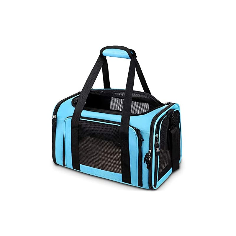 dog supplies online comsmart cat carrier, pet carrier airline approved pet carrier bag collapsible 15 lbs dog carrier for small medium cats dogs puppies kitten - blue