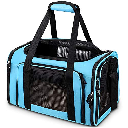 Comsmart Cat Carrier, Pet Carrier Airline Approved Pet Carrier Bag Collapsible 15 Lbs Dog Carrier for Small Medium Cats Dogs Puppies Kitten - Blue