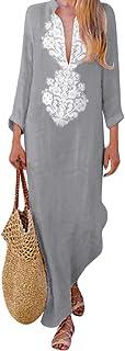 Women Long Dress Vintage Print - Long Sleeve V-neck Maxi Dress Split Hem Baggy Kaftan Robe