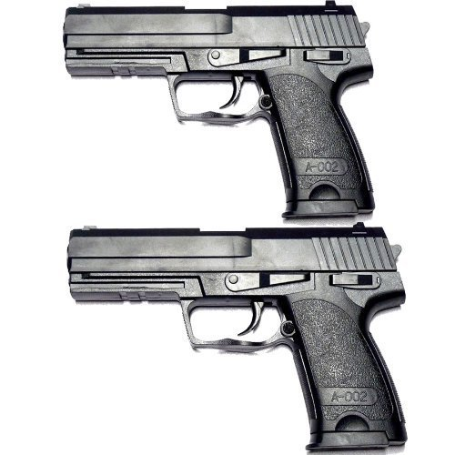 Spielzeug-Pistolen Schwarz Fasching 2 Stück B181 Polizei S.W.A.T Waffen