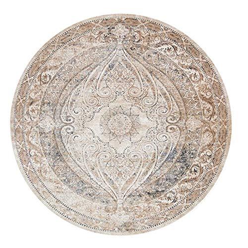 EmyTock Tapis rond en coton, tissé à la main, motif mandala européen, antidérapant, pour salon, chambre à coucher, bureau, table basse, diamètre 100 cm