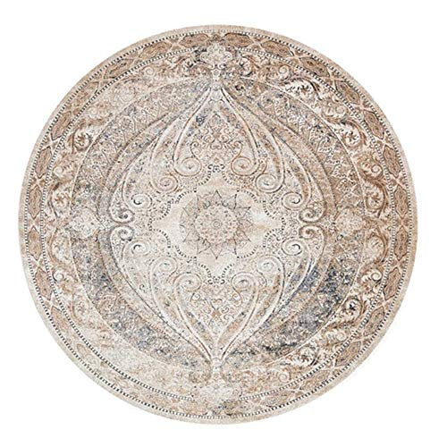Icole Cotton - Tappeto rotondo in cotone mandala europeo, tessuto a mano, per soggiorno, camera da letto, studio, tavolino da salotto, diametro 100 cm