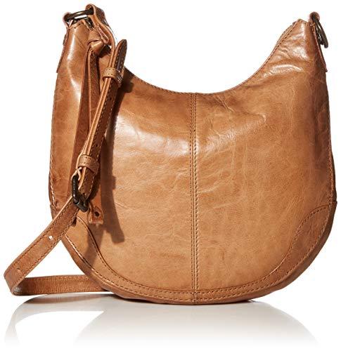 Frye Melissa Small Zip Scooped Hobo Crossbody Bag, Beige