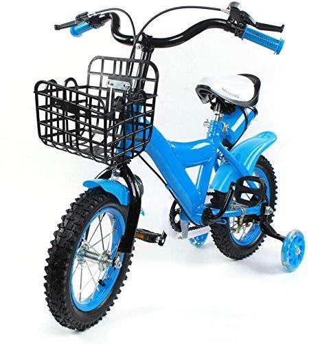 Bicicletta per bambini, 12 pollici, bicicletta per bambini, bicicletta per bambini, bicicletta per bambini, bicicletta con pedale, ruote di supporto (blu)