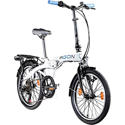 AGON Parklane 20 Zoll Klapprad Fahrrad Faltrad Klappfahrrad 20' StVZO 6 Gänge Urban Bike (weiß/blau, 33 cm)