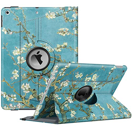 Fintie Rotating Case for New iPad 8th Gen (2020) / 7th Generation (2019) 10.2 Inch - [Built-in Pencil Holder] 360 Degree Rotating Smart Protective Stand Cover with Auto Sleep/Wake, Blossom