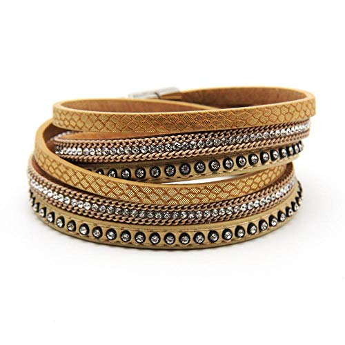 NA Pulsera Schmuck2020 de piel para mujer, con cierres de cristal, multicapa, para mujer, pulsera de joyería, color café
