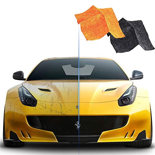 2 Pack Nano Sparkle Cloth for Car Scratches, Nano Magic Cloth Scratch Remover with Disposable Gloves, Easily Repair Paint Scratches and Water Spots