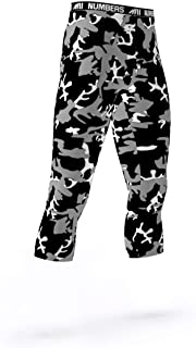 3/4 Length Tights- CAMO Night MAX (Pink, Black, White)- Boys Mens Football Basketball Compression Tights Sports Pants Baselayer Leggings to Match Uniforms
