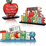Jetec Teacher Appreciation Table Centerpieces Best Teacher Sign Table Decorations for Student to Teacher Home Decor Classrooms Desks Teaching Wooden Signs Topper