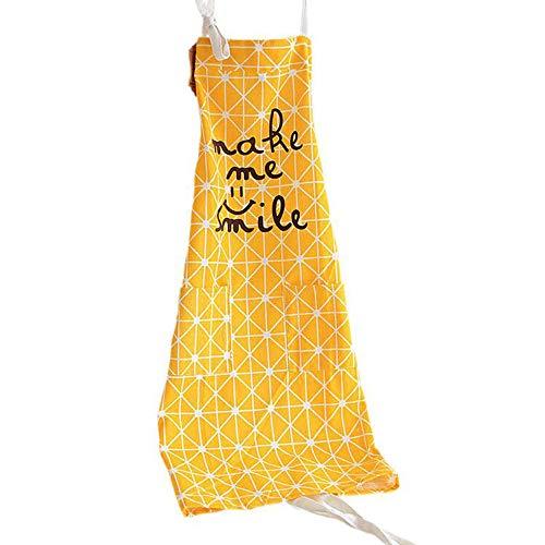 Frau Kochen Schürze Küchenschürze, Baumwolle Backen Schürze mit Taschen (Gelb)