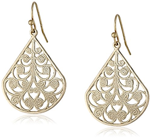 1928 Jewelry Gold-Tone Vine Filigree Earrings