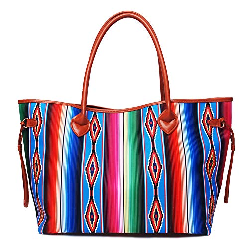 Large Casual Tote Bag Beach Bag Multi-Color Design Lightweight Market Grocery & Picnic Tote Weekend handbag for Women (Rainbow)