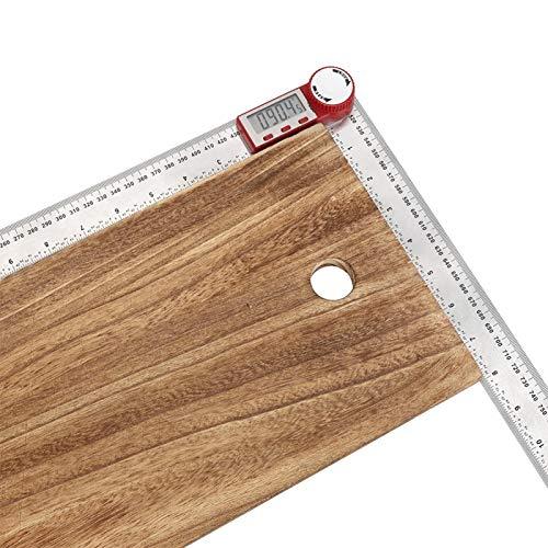 Regla electrónica, regla de medición, longitud Acero inoxidable Alimentado por batería para medición de ángulos Medición de longitud con tornillo de fijación Herramienta de(0-500mm)
