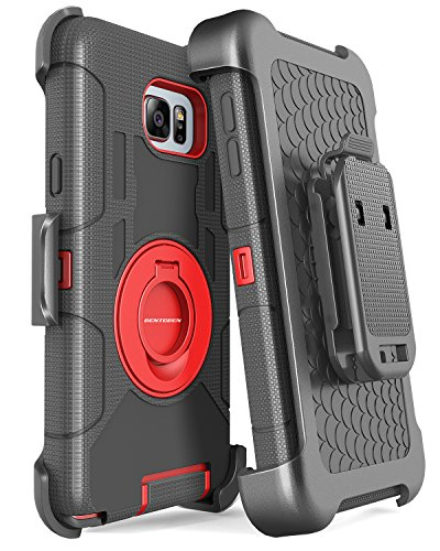 Note 5 Case, Galaxy Note 5 Case, BENTOBEN Galaxy Note 5 Case Shockproof Heavy Duty Hybrid Full Body Rugged Holster Protective Case for Samsung Galaxy Note 5 with Kickstand + Belt Clip(Red)