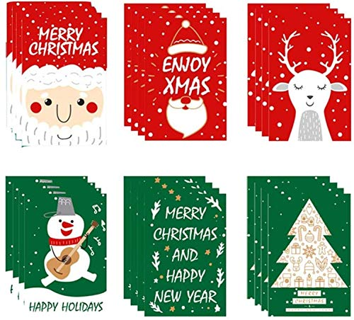VSILE Lovely Christmas And Merry Christmas Card Set - 6 Unique Design Of Happy Christmas Cards, Including 3.9 x 6 inches