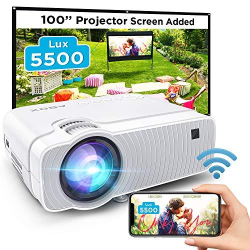ABOX WiFi Beamer 5500 Lumen Unterstützt 1080P Full HD Wireless Projektor Max. 300'' Display Mini LED Dolby Sound kompatibel mit iPhone/Android Smart Phone/iPad/Mac/Laptop/PC