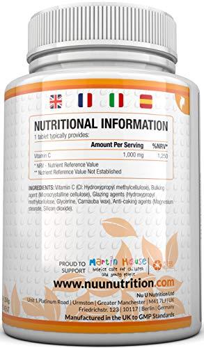 Vitamin C 1000mg 180 Tabletten (6 Monatsversorgung) von Nu U Nutrition - 3