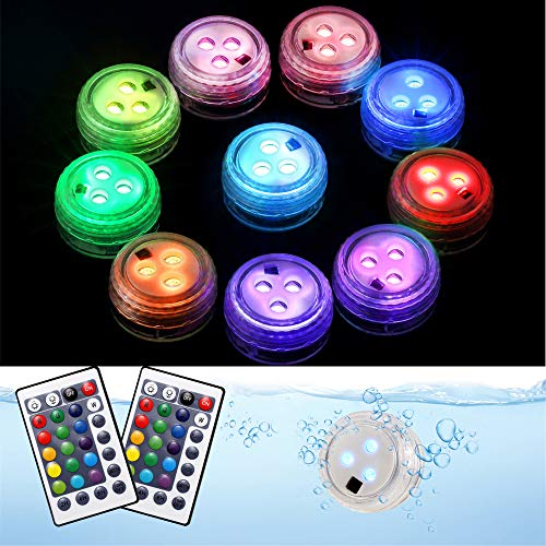 Waterproof LED Light 16 Color Changing Pond Lights Battery Operated Bathtub Lights for Fish Tank Aquarium Pond Foundation【4 Pack】 Creatrek Submersible LED Lights with Suction Cups and Magnets