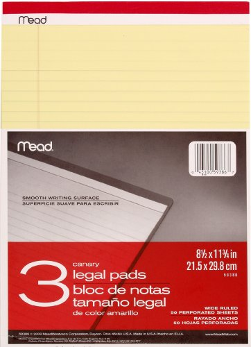 Mead Legal Pad Writing Pads, Wide Ruled, Great for Use as Home Office Supplies, Memo Pads, Note Pads, or Steno Pads, 8-1/2' x 11-3/4', 50 Sheets, Letter Writing Canary Paper, 3 Pack (59386),canary yellow